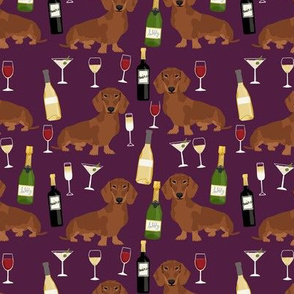 dachshund red coat wine dog breed fabric purple