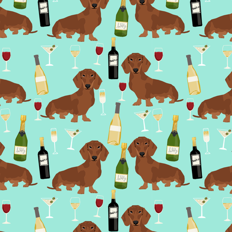 dachshund red coat wine dog breed fabric bright aqua fabric by petfriendly on Spoonflower - custom fabric