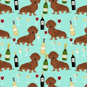 dachshund red coat wine dog breed fabric bright aqua