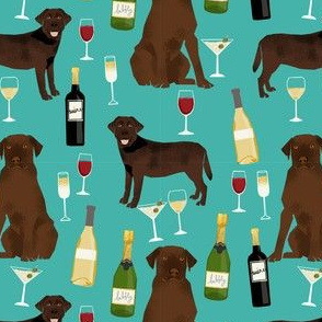 chocolate lab wine labrador retriever dog fabric peach teal