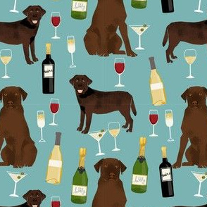 chocolate lab wine labrador retriever dog fabric blue