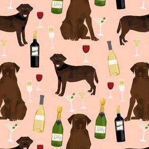 chocolate lab wine labrador retriever dog fabric peach