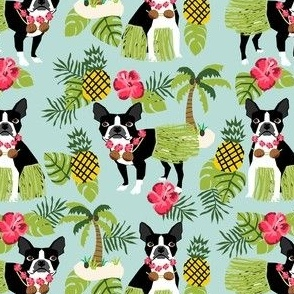 boston terrier hula tropical hawaii islands dog breed fabric green