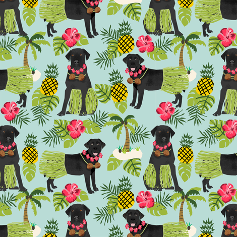 black lab hula tropical hawaii islands dog breed fabric blue fabric by petfriendly on Spoonflower - custom fabric