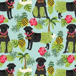black lab hula tropical hawaii islands dog breed fabric blue