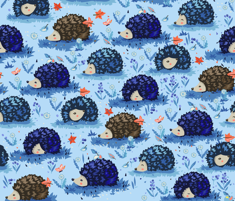 Cute hedgehogs - blue fabric by agneslovedesign on Spoonflower - custom fabric