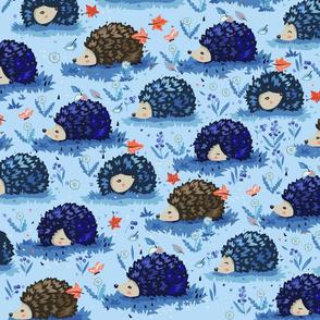 Cute hedgehogs - blue