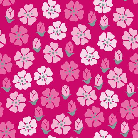 Spring flowers pink fabric by yvonnesgalleri on Spoonflower - custom fabric