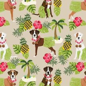 boxer hula tropical hawaii islands dog breed fabric tan
