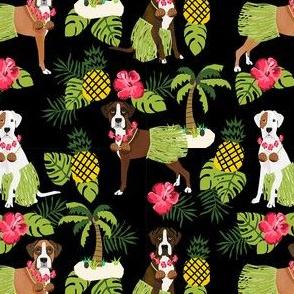 boxer hula tropical hawaii islands dog breed fabric dark