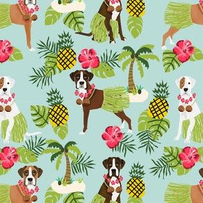 boxer hula tropical hawaii islands dog breed fabric blue