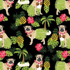 pug hula tropical hawaii islands dog breed fabric dark