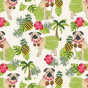 pug hula tropical hawaii islands dog breed fabric light