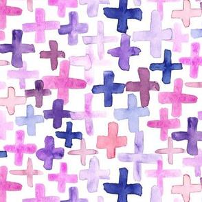 Purple Pink Magenta Plum Plus Cross Large Jumbo  Abstract Watercolor _ Miss Chiff Designs