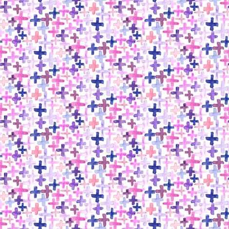 Purple Pink Magenta Plum Plus Cross Small Tiny Abstract Watercolor _ Miss Chiff Designs fabric by misschiffdesigns on Spoonflower - custom fabric