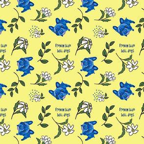yellow daisys and blue dogs