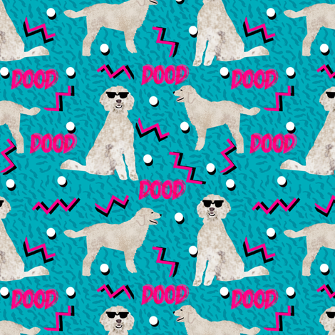 doodle dood retro 80s style rad dog fabric blue fabric by petfriendly on Spoonflower - custom fabric