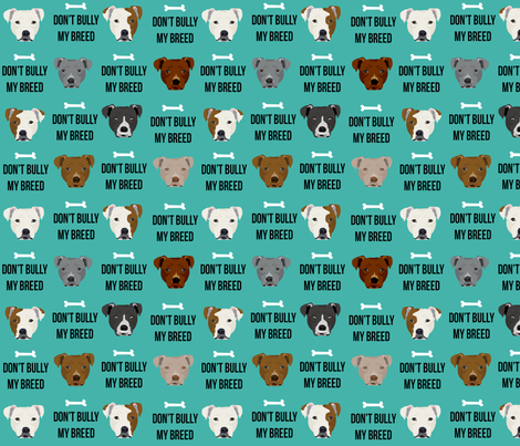 staffordshire terrier staffy bully psa dog breed fabric teal fabric by petfriendly on Spoonflower - custom fabric