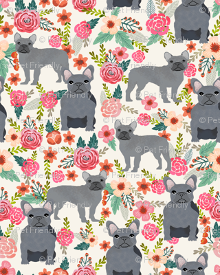 frenchie floral grey coat flowers dog breed fabric