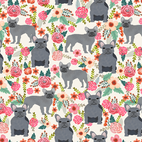frenchie floral grey coat flowers dog breed fabric  fabric by petfriendly on Spoonflower - custom fabric