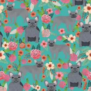 frenchie floral grey coat flowers dog breed fabric teal
