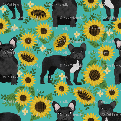 frenchie sunflower black coat dog breed fabric teal