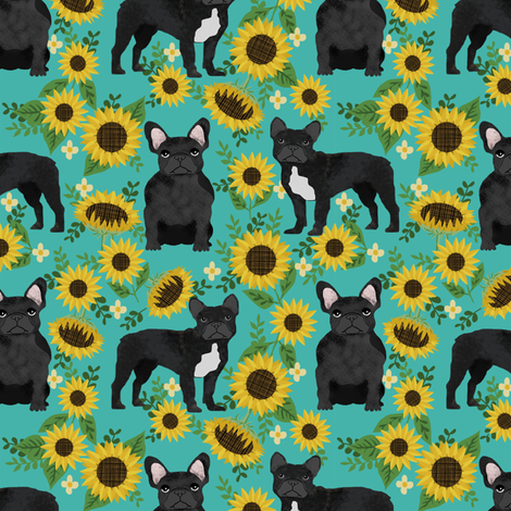 frenchie sunflower black coat dog breed fabric teal fabric by petfriendly on Spoonflower - custom fabric
