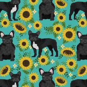 frenchie sunflower black coat dog breed fabric teal