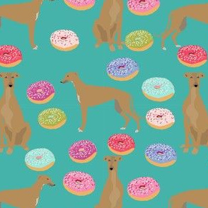 greyhound fawn coat donuts dog breed fabric teal