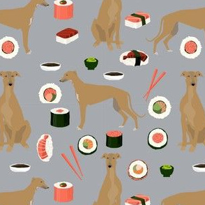 greyhound fawn sushi fabric dog breed grey