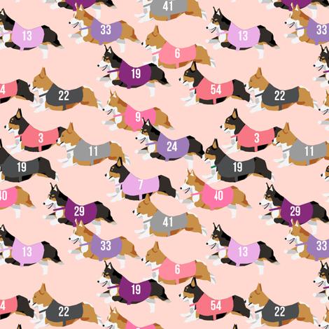 corgi runnnig  racing corgis dog fabric pink fabric by petfriendly on Spoonflower - custom fabric