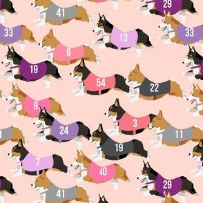 corgi runnnig  racing corgis dog fabric pink