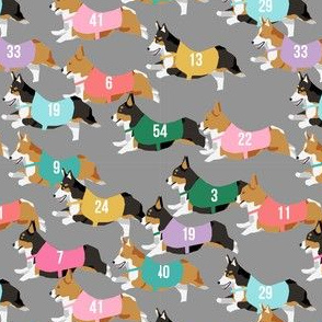corgi runnnig  racing corgis dog fabric grey