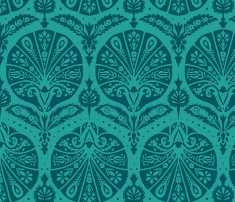 vintage damask teal fabric by katarina on Spoonflower - custom fabric