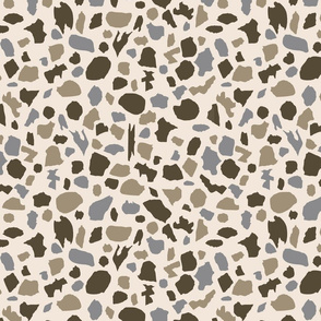 terrazzo in brown, tan and gray on cream