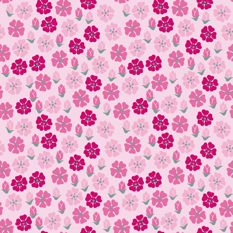 Spring flowers light pink fabric by yvonnesgalleri on Spoonflower - custom fabric