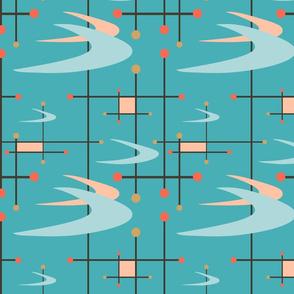 Mid Century Modern Boomerangs on Turquoise