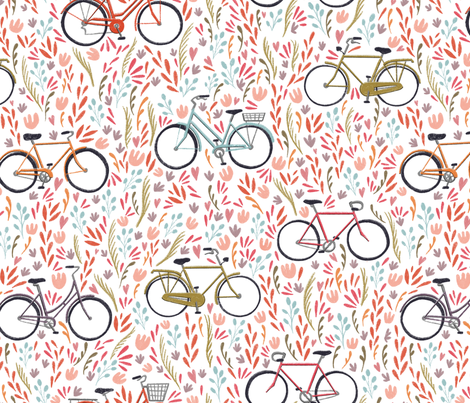Large Scale Spring Bicycles on White fabric by landpenguin on Spoonflower - custom fabric