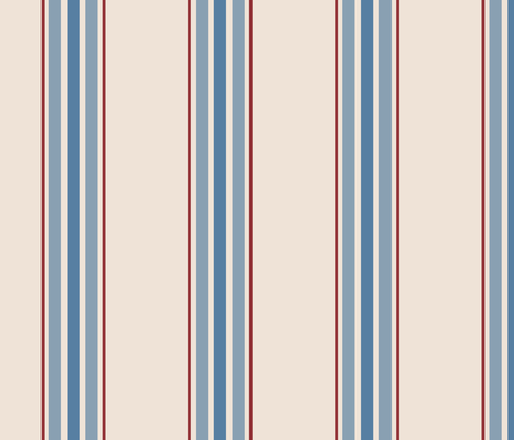 farmhouse ticking stripes in blue and red on cream fabric by mel_fischer on Spoonflower - custom fabric