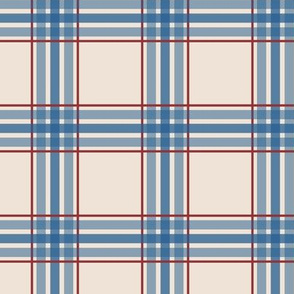 farmhouse plaid in blue and red on cream