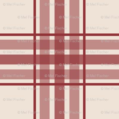 farmhouse plaid in brick red and cream
