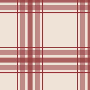 farmhouse plaid in brick red and cream