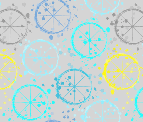 Watercolor wheels fabric by everhigh on Spoonflower - custom fabric