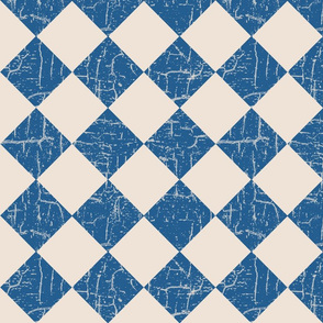 farmhouse checkerboard blue on cream