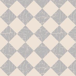 farmhouse checkerboard in gray on cream