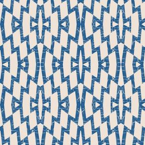rustic farmhouse diamond pattern in blue and cream