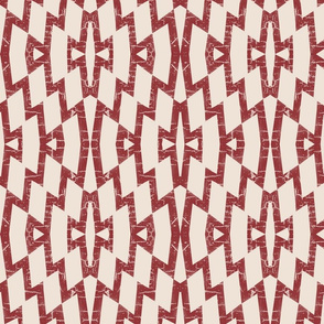 farmhouse diamond pattern in brick red and cream