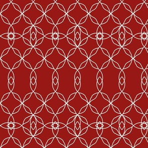Filigree Lace: Candy Apple Red & Cream Tracery