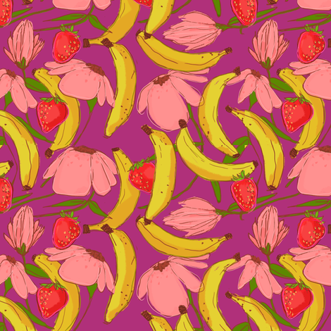 banana strawberry shake - main fabric by denysemitterhofer on Spoonflower - custom fabric