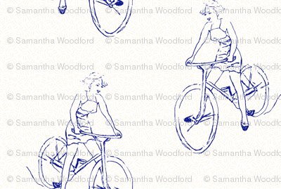 free wheeling// hand drawn onto dashed beige retro look fabric
